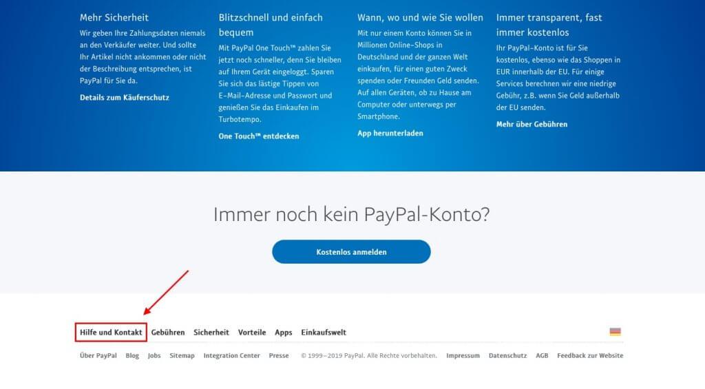 """Scrollen Sie auf der PayPal-Startseite bis zum Ende. Dort finden Sie die Schaltfläche """"Hilfe und Kontakt""""."""
