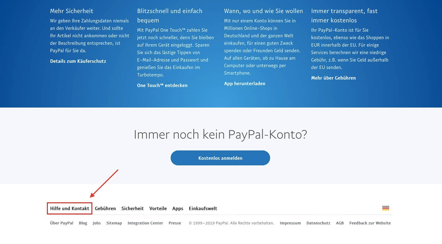 paypal kontakt