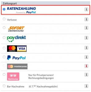 Ratenzahlung powered by PayPal wählen