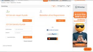 Loggen Sie sich mit den bestehenden Kundendaten ein ODER erstellen Sie einen neuen Kunden-Account