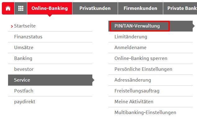 Neue PIN anfordern in Online Banking
