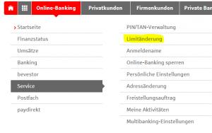 """Wählen Sie """"Limitänderung"""" im Online-Banking aus"""