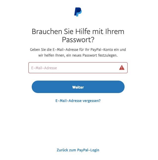 Um ein neues Passwort eingeben zu können, müssen Sie zunächst Ihre E-Mail-Adresse an PayPal senden.