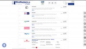 Wählen Sie aus, womit Sie bezahlen wollen (Vorkasse, GiroPay, Paydirekt, Sofortüberweisung, PayPal oder Santander Finanzierung)