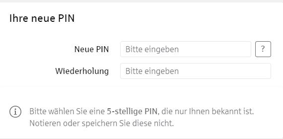 Neue PIN eingeben bei der Sparkasse