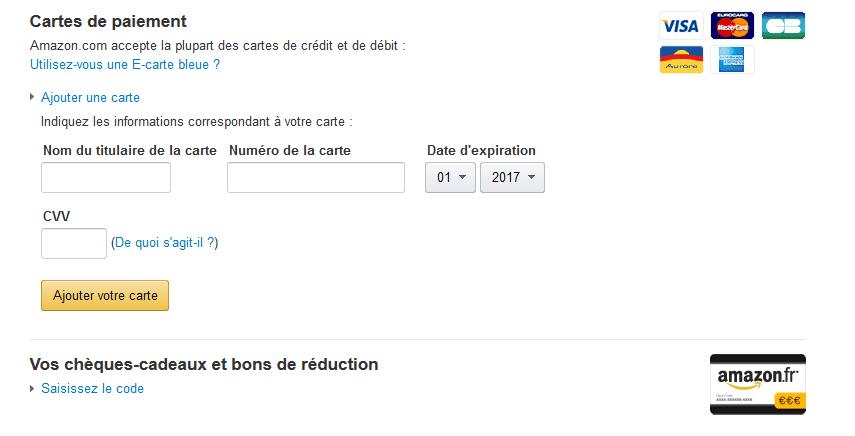 Bei Amazon.fr die Kreditkartendaten eingeben