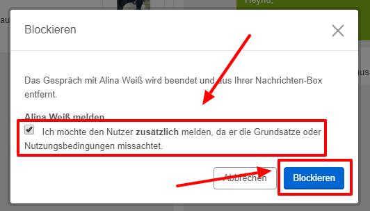 Bestätigen Sie, dass Sie den Nutzer blockieren möchten.