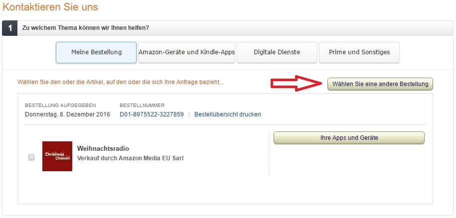 Amazon-Kontakt-andere Bestellung