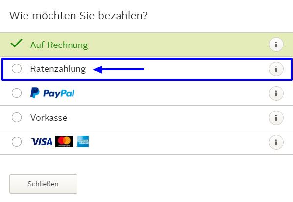 Zahlungsart auswählen bei Otto einkauf