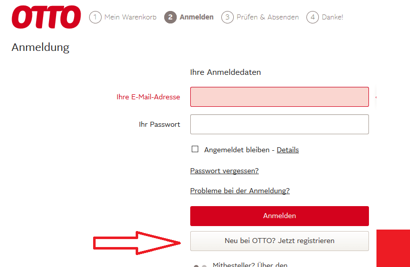 Sie brauchen eine Email-Adresse um sich bei OTTO zu registrieren