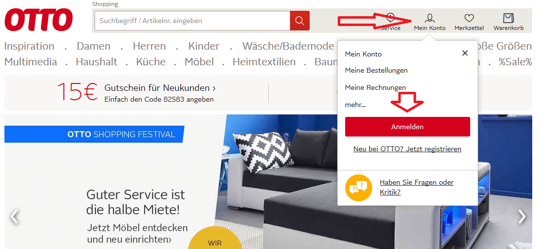 Bei OTTO können Sie Möbel bestellen