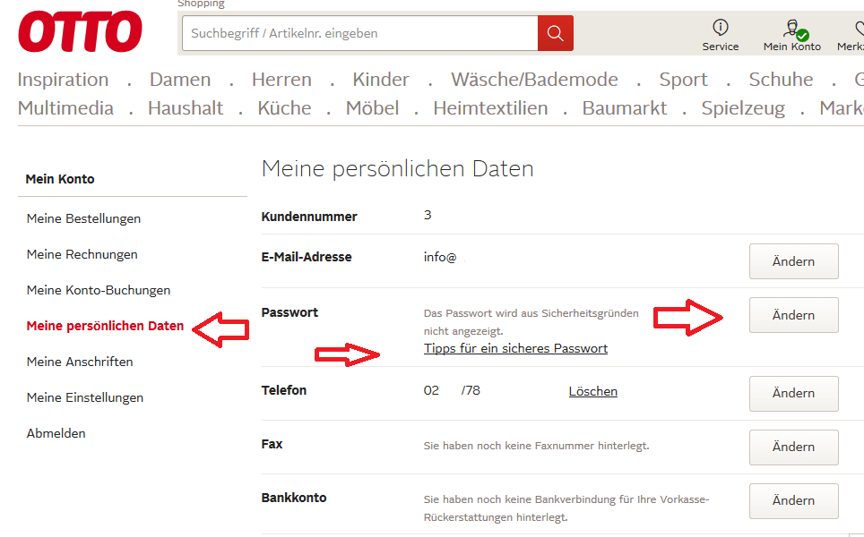 """Klicken Sie auf """"Meine persönlichen Daten"""" um auch Ihre E-Mail Adresse zu ändern"""