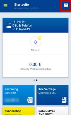 Kontakt über die 1&1 Control Center App