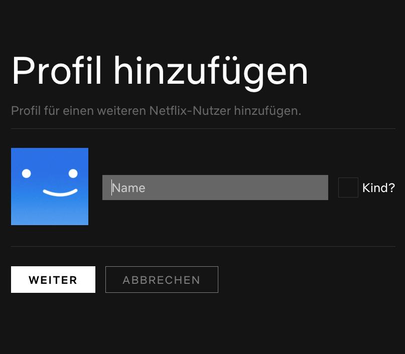 Netflix Profile hinzufügen