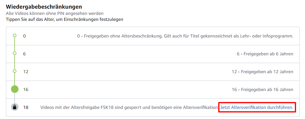 Amazon Video Alter bestätigen