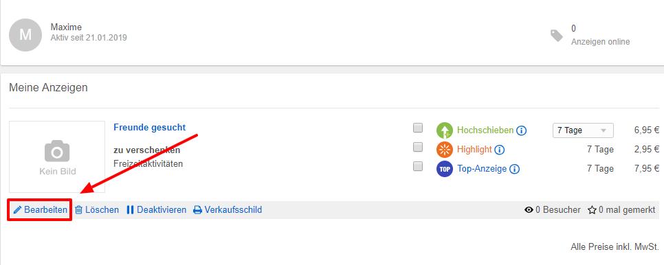 """Klicken Sie auf """"Bearbeiten"""" um Ihre Anzeige zu ändern."""