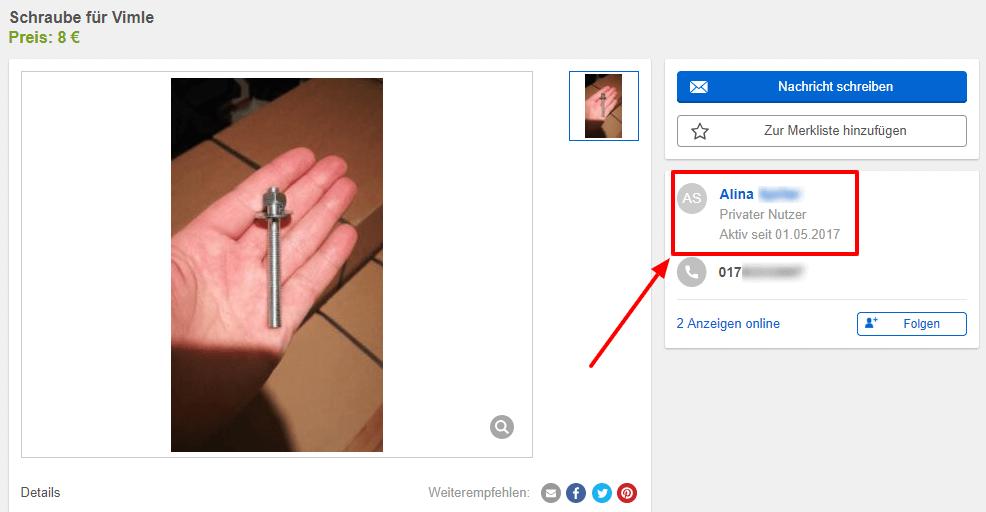 Mit einem Klick auf den Verkäufernamen, kann man sich alle Anzeigen des Verkäufers ansehen.