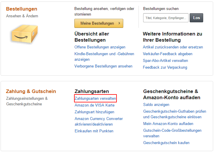Amazon Bestellung Rechnungsadresse