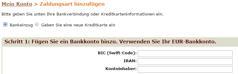 Neue Zahlungsart Formular