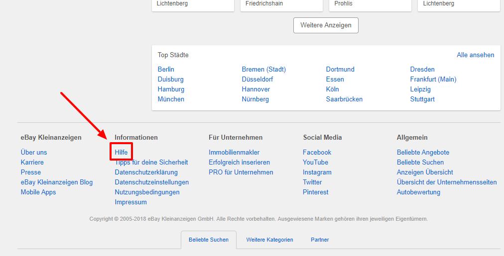 Sie finden das Hilfe-Center am Ende der Webseite