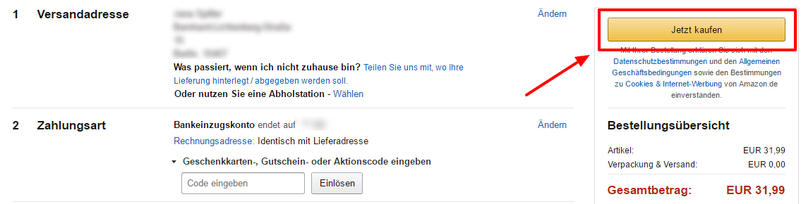 ratgeber bei amazon per bankeinzug bezahlen so geht 39 s. Black Bedroom Furniture Sets. Home Design Ideas