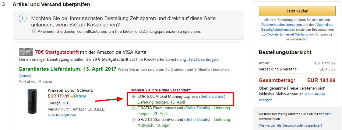 Amazon Versandart auswählen