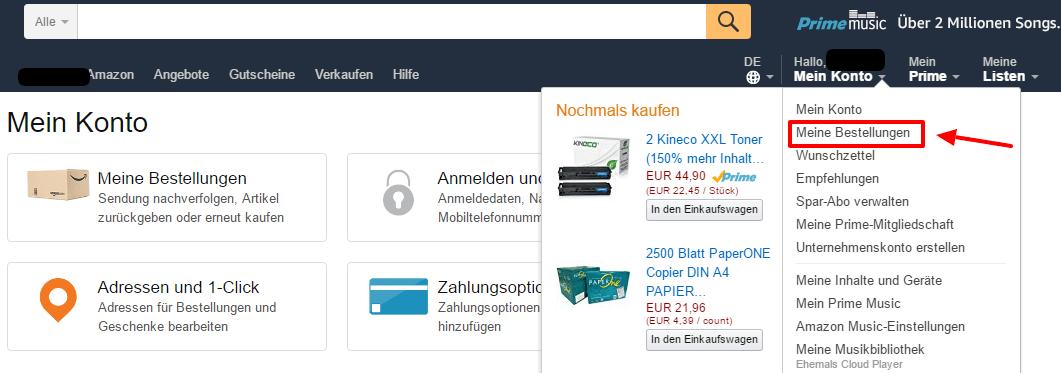 Bei amazon Mein Konto Meine Bestellungen finden