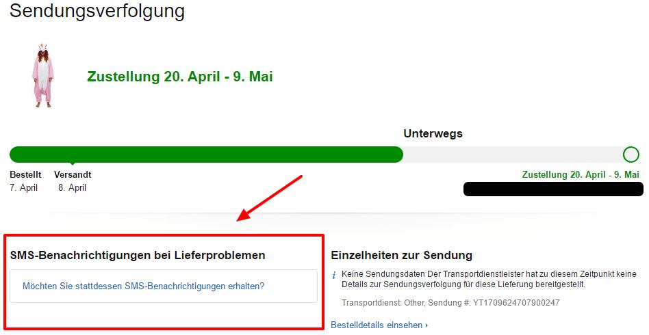 SMS Amazon bei Lieferproblemen
