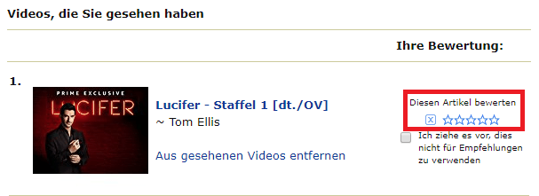 Amazon Video Titel bewerten