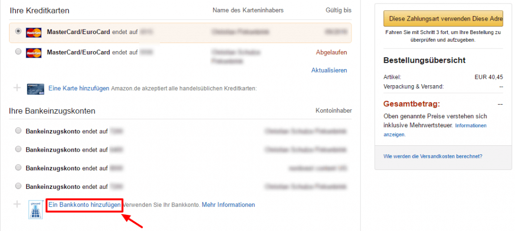 In der Amazon Kasse neue Zahlart eingeben
