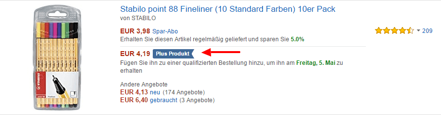Kennzeichnung von Plus-Produkten bei Amazon durch blauen Marker