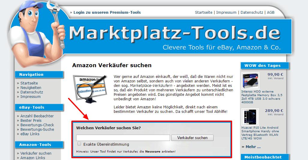 Bestimmten Amazon Verkäufer über alternative Website finden