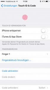 Man kann bei Touch-ID mehr asl einen Fingerabdruck speichern