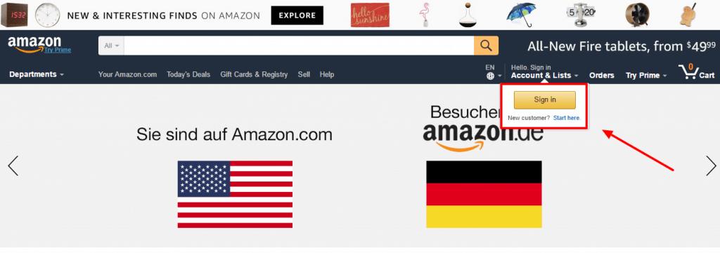 Bei Amazon.com oben recht anmelden.
