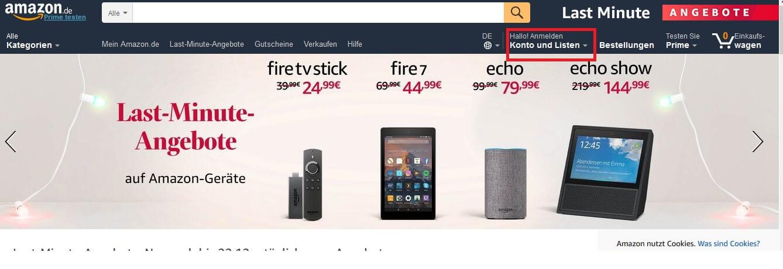 Bei Amazon muss man registriert sein um ein Primekonto zu eröffnen