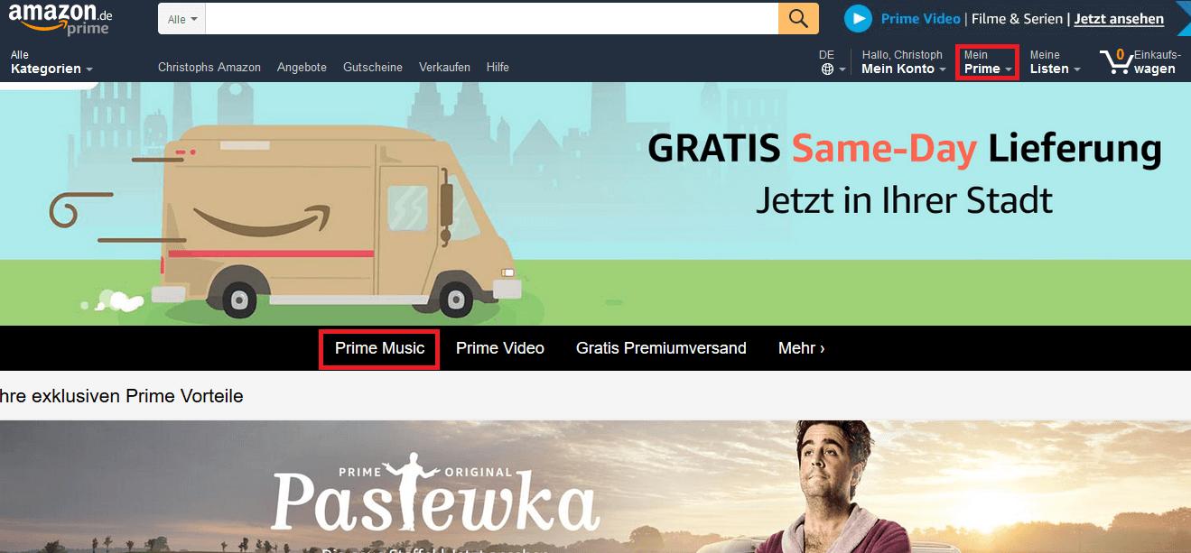 Außerdem finden Sie dort auch Amazon Prime Video