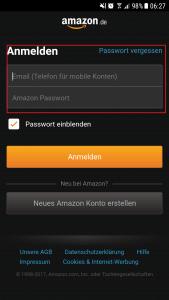 Sie müssen sich nicht jedesmal neu anmelden bei der Amazon App