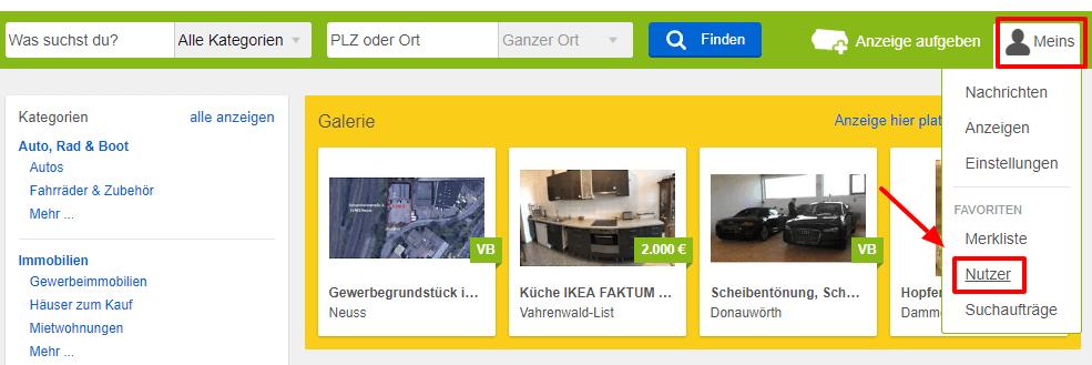 ebay kleinanzeigen nutzer suchen finden anleitung. Black Bedroom Furniture Sets. Home Design Ideas