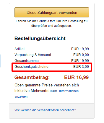 Amazon Payments Gutschein
