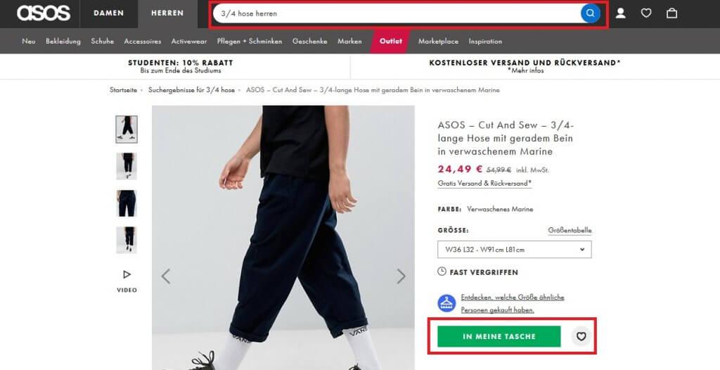 Bei Asos können Sie Kleidung finden