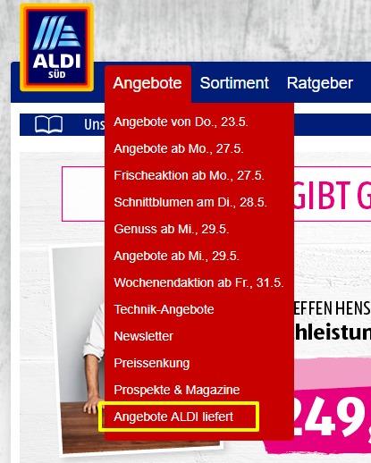 """Aktuelle Angebote von """"ALDI liefert"""" einsehen"""