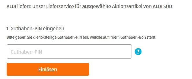 """Guthaben-PIN bei """"ALDI liefert"""" eingeben"""