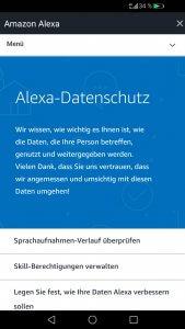 Datenschutzeinstellungen bei Alexa.