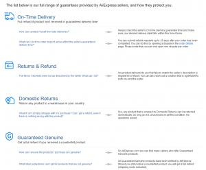 Angaben von AliExpress zum Käuferschutz