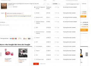 Verkäufer bei AliExpress mit vielen unterschiedlichen Versandmöglichkeiten