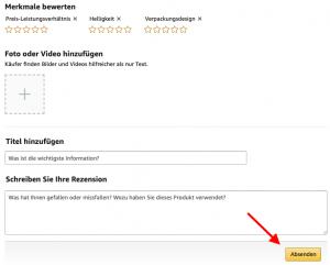 Amazon Bewertung absenden