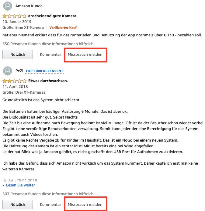 Missbräuchlichen Kommentar bei Amazon melden