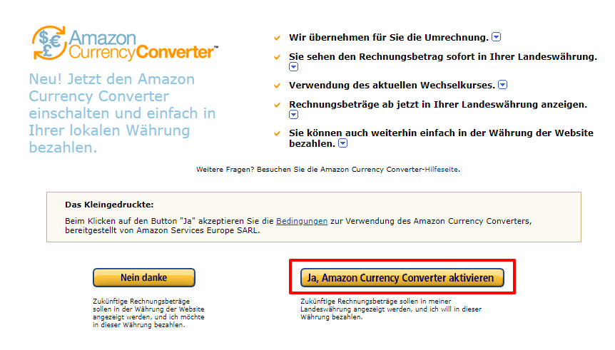 Amazon Currency Converter aktivieren