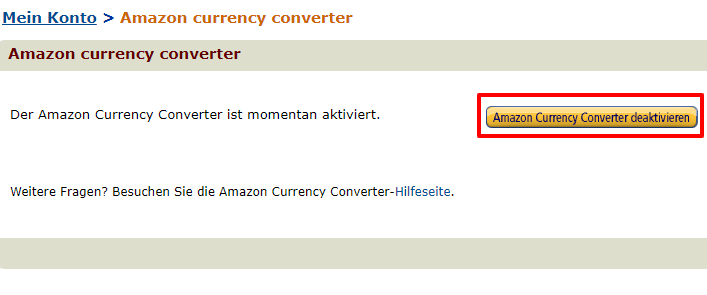 Amazon Currency Converter deaktivieren