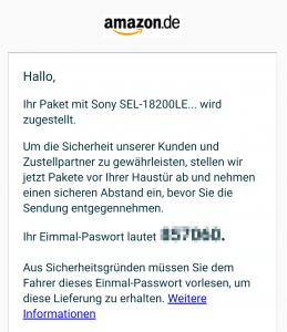 Trotz Rechtschreibfehlern kein Spam: E-Mail zum Amazon Einmalpasswort
